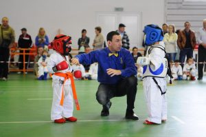 Kids in a martial arts match