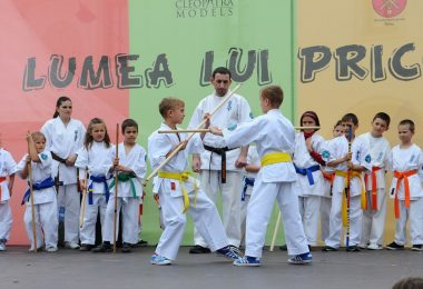 Kids sparring in a martial arts event.