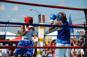 Kickboxing for kids at the New York State Fair.