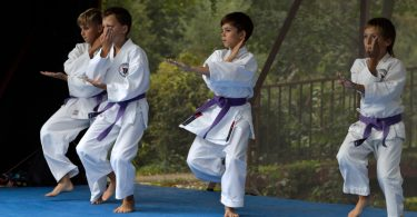 Kids practicing karate.