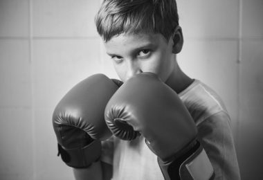 Kids in kickboxing gloves